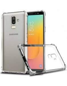 Capa Protetora Transparente Com Borda Antishock Para Samsung Galaxy J8